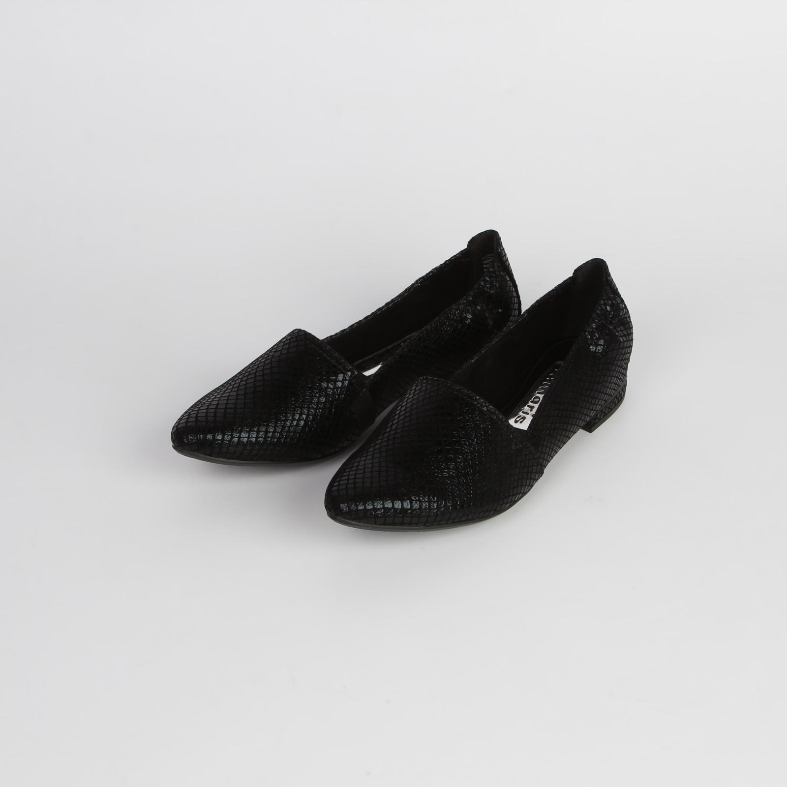 Туфли женские декорированные под «рептилию» на невысоком каблуке