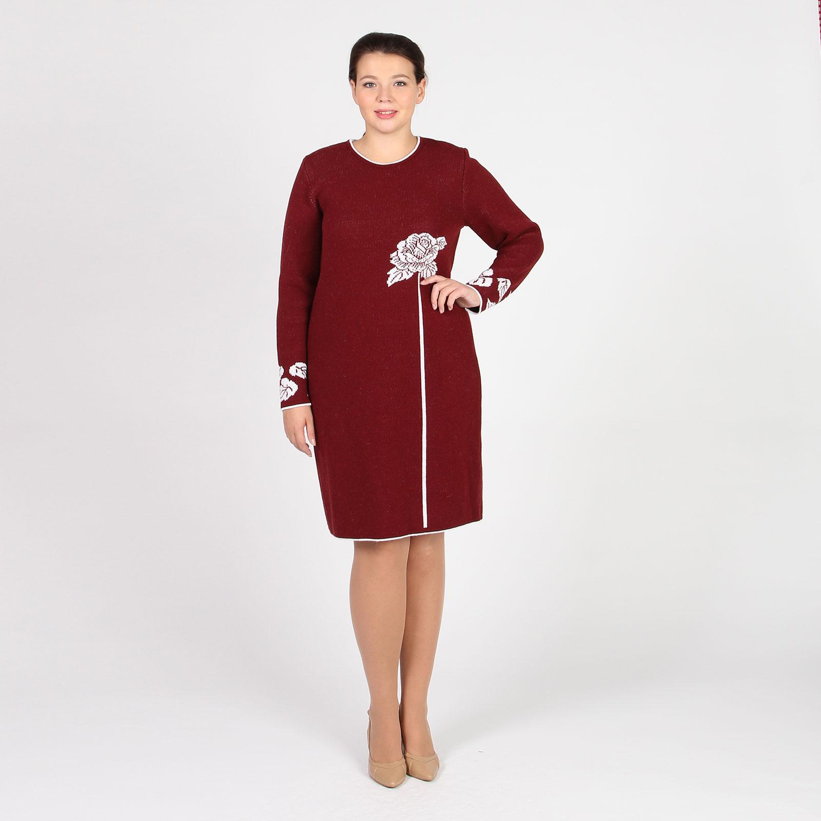 Платье-миди с рисунком «роза»