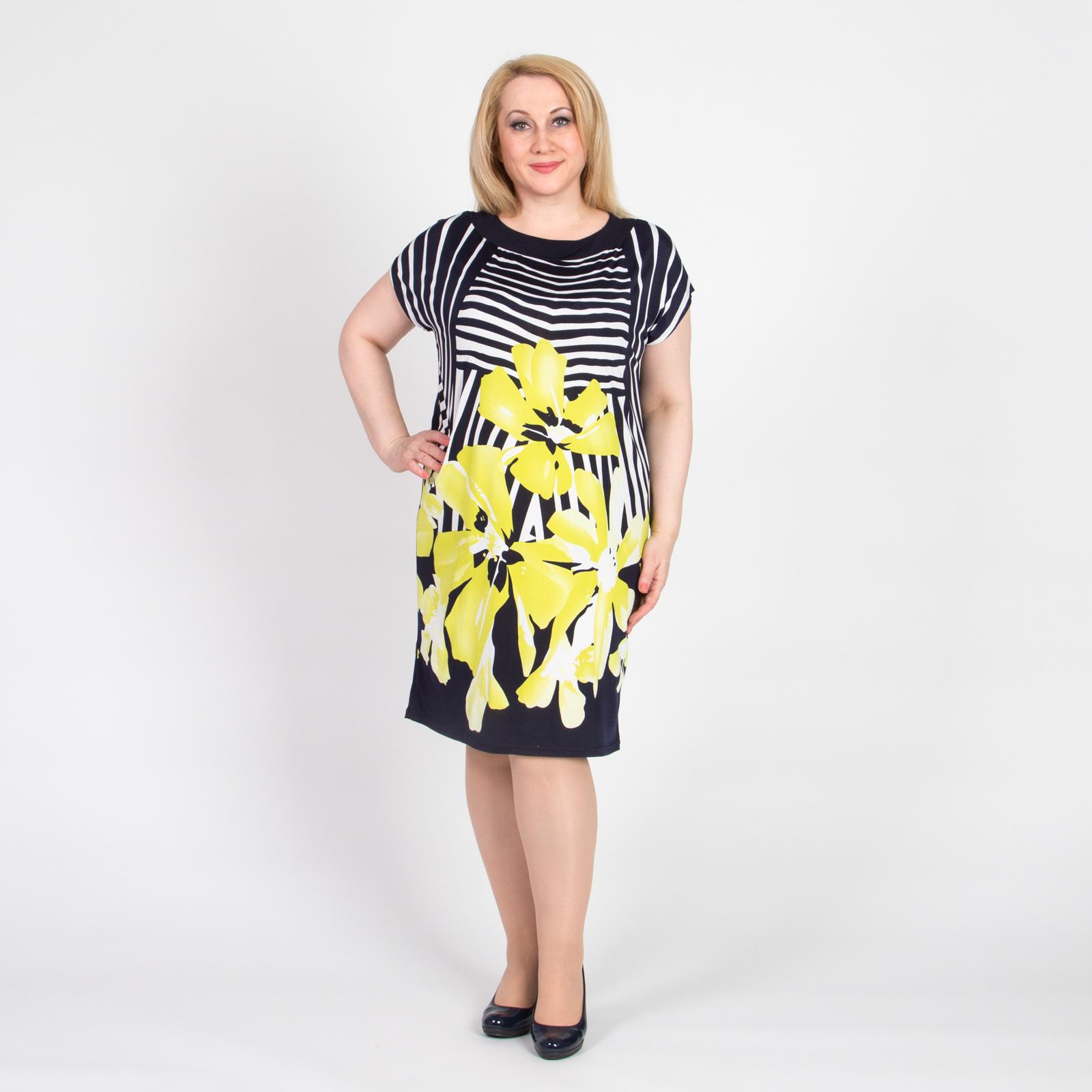 Платье-туника с ярким цветочным принтом