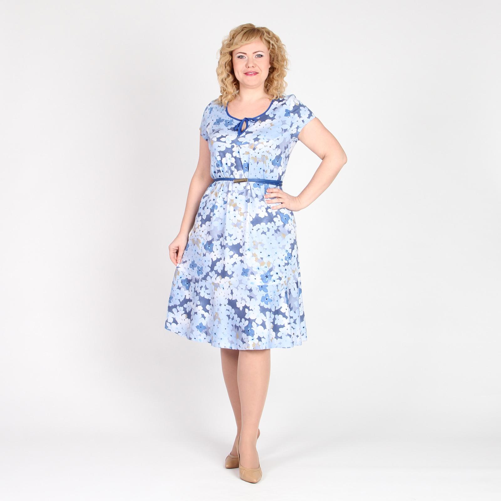 Платье с коротким рукавом и воланом