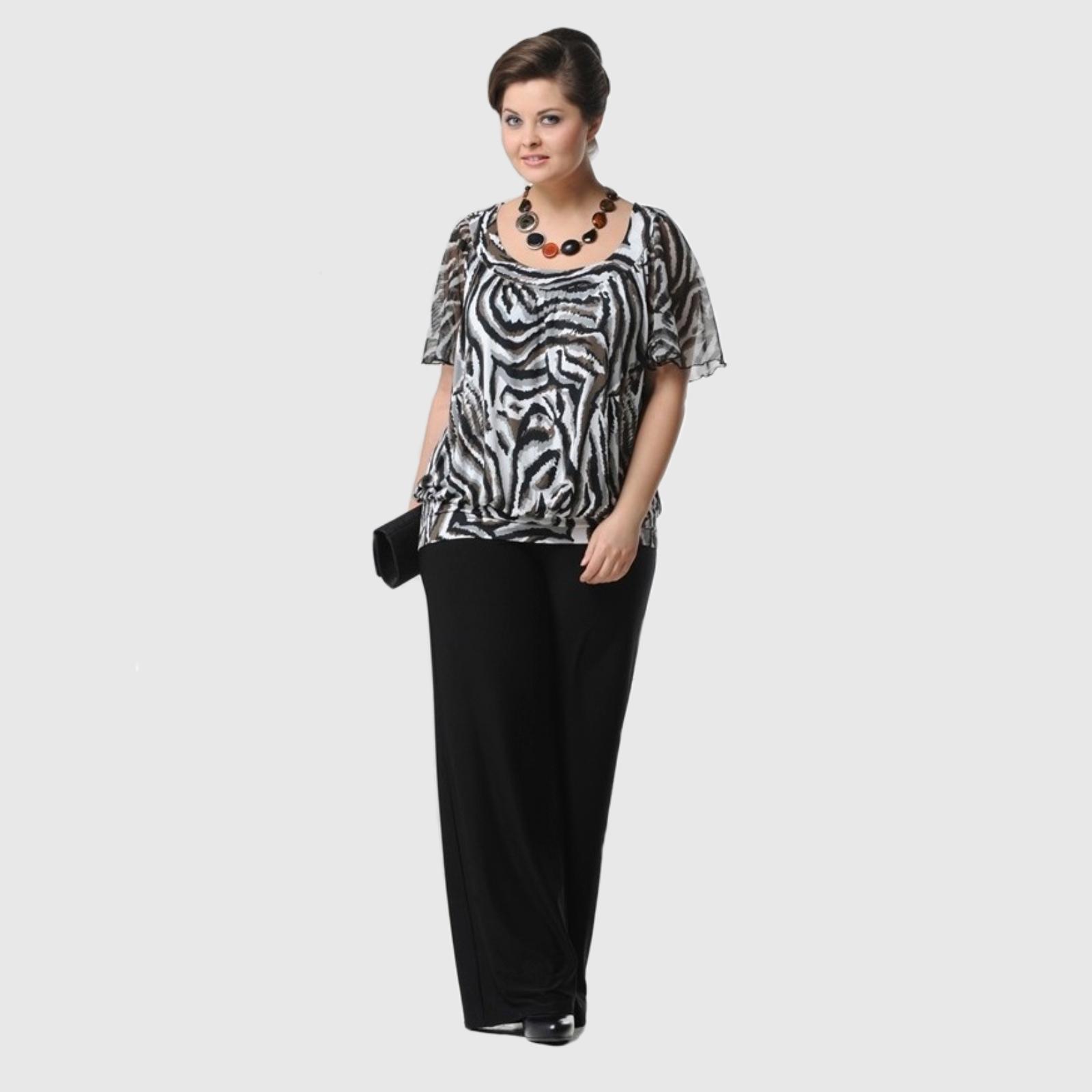Блуза с анималистическим принтом и шифоновыми рукавами