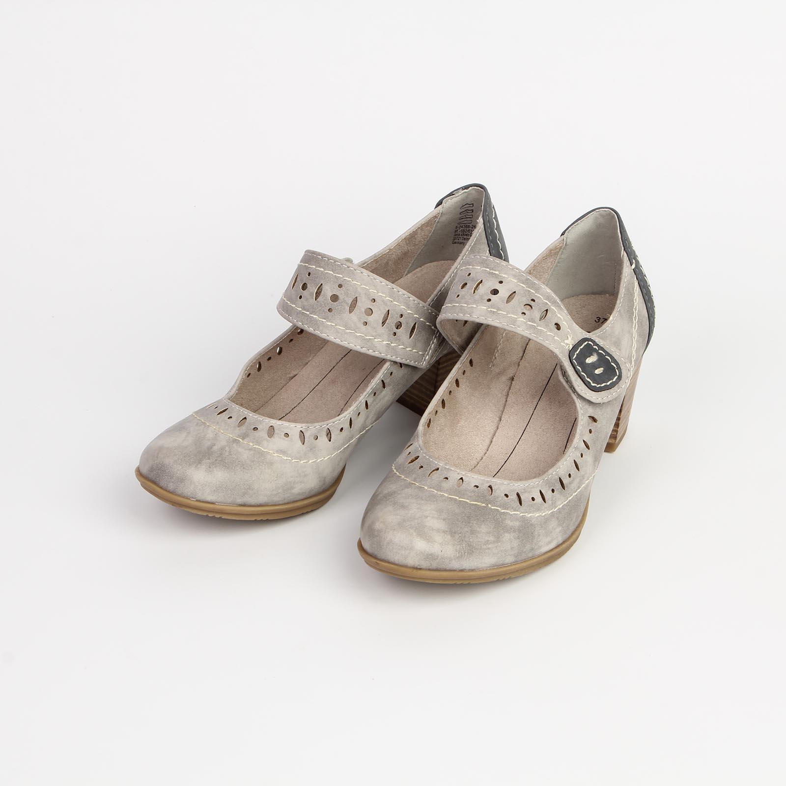 Туфли женские с контрастным задником и фиксирующим ремешком