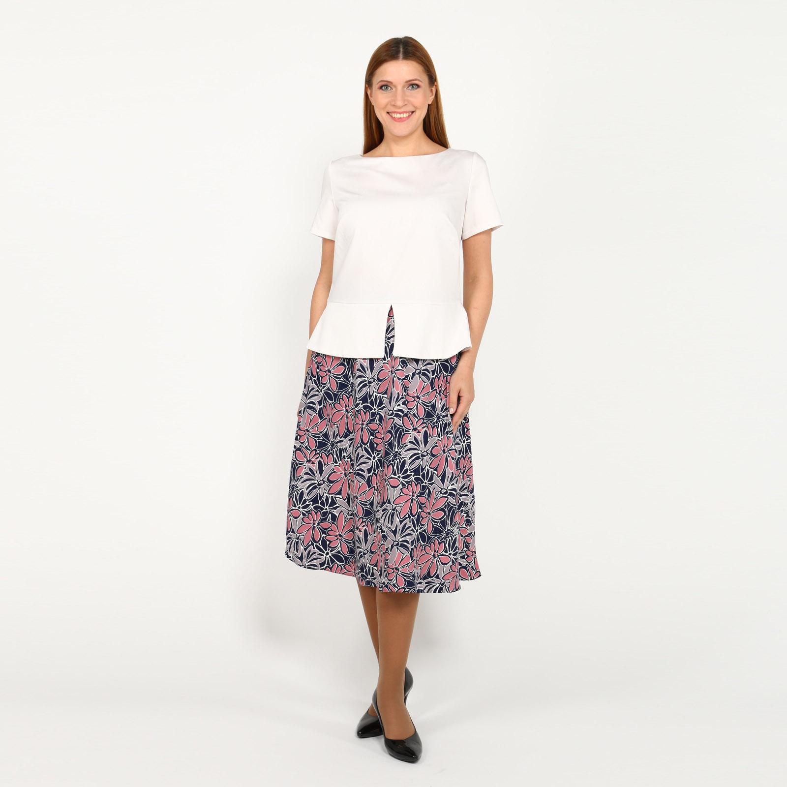 Комплект: блузка и юбка с цветочным принтом