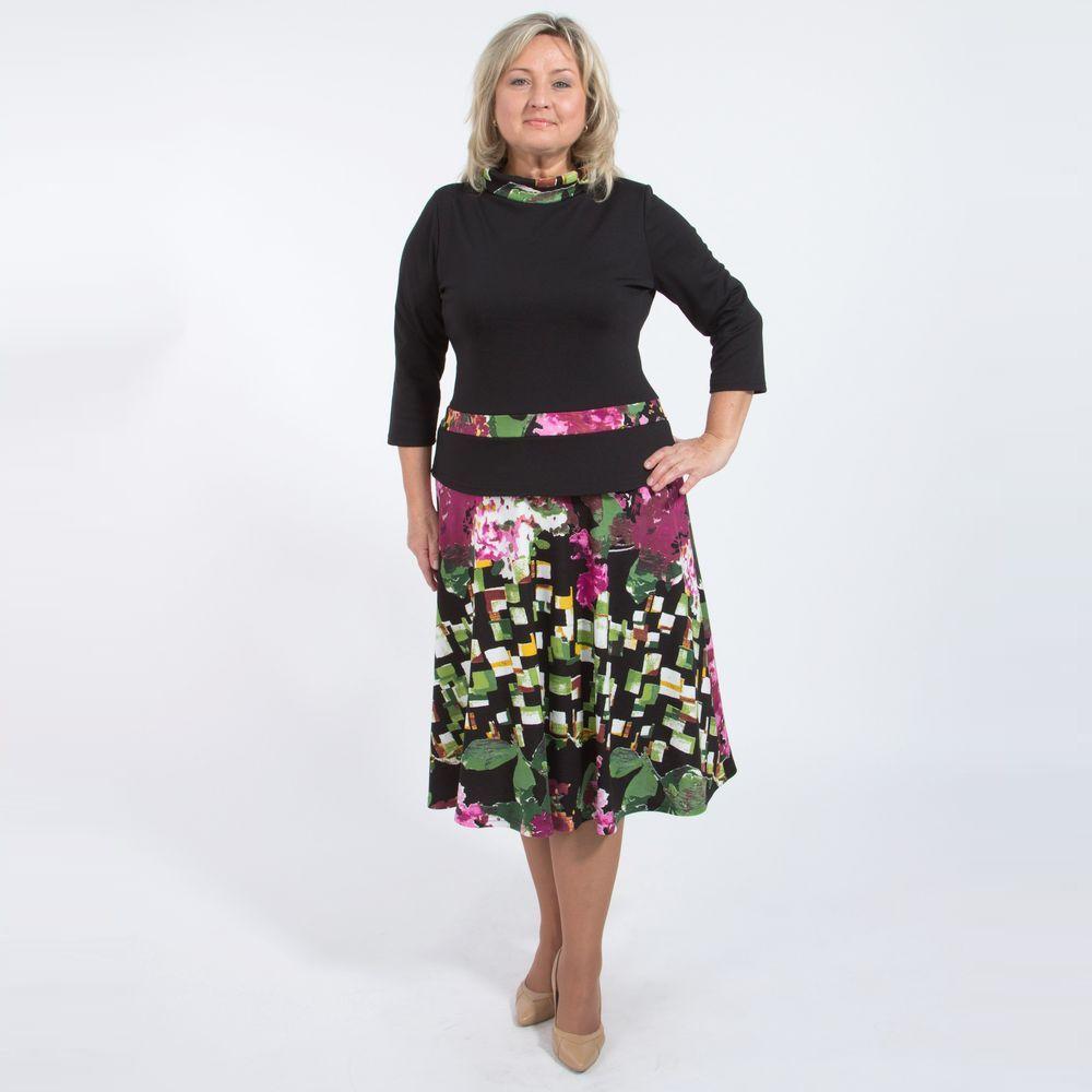 Платье с имитацией двойки и воротником «стойка»