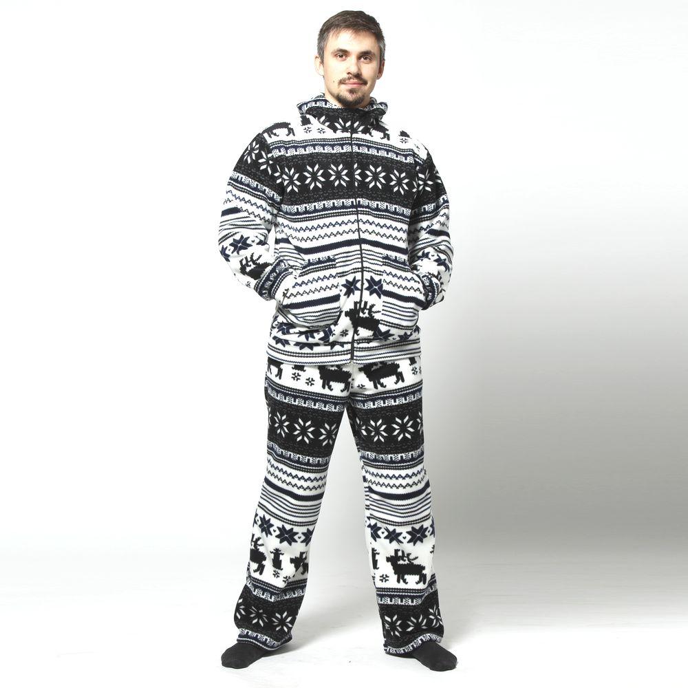 Костюм мужской: куртка и брюки с принтом «Олени»