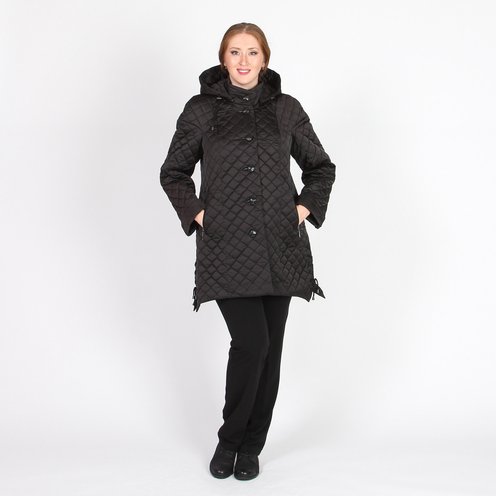 Пальто стеганое с асимметричным низом