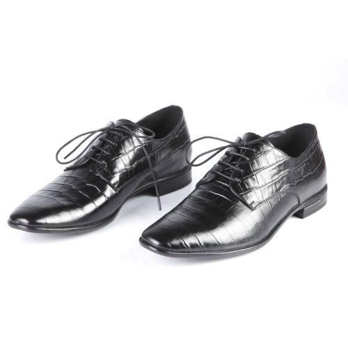 Мужские туфли с тиснением под рептилию на шнуровке