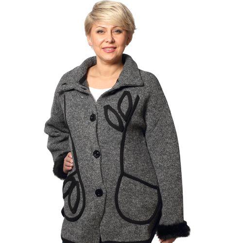 Пальто полушерстяное с воротником-стойкой и мехом на манжетах
