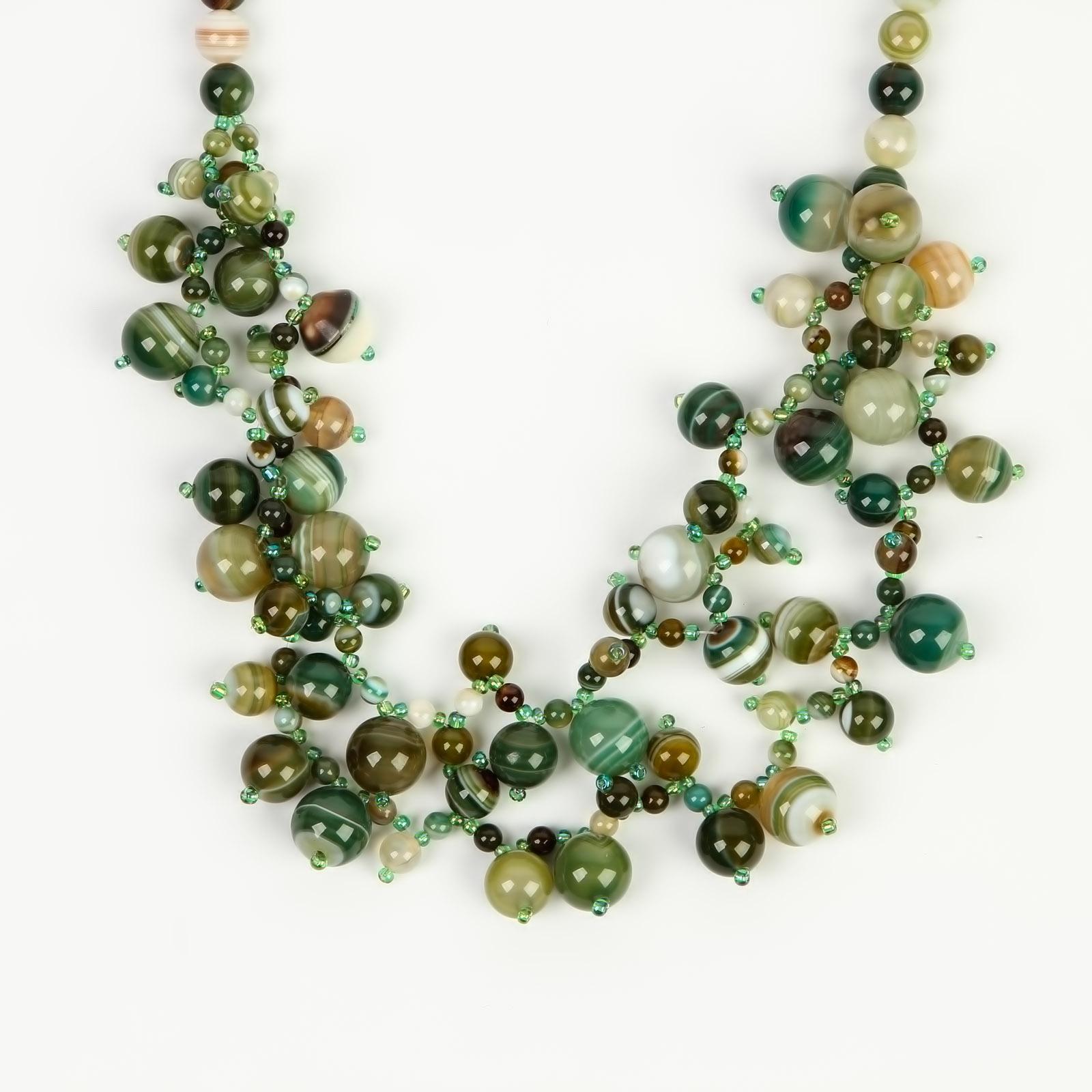 Колье «Зеленый агат»