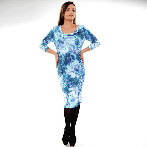Платье с эффектным вырезом и цветочным принтом