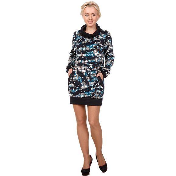 Платье свободного кроя с карманами и воротником-стойка