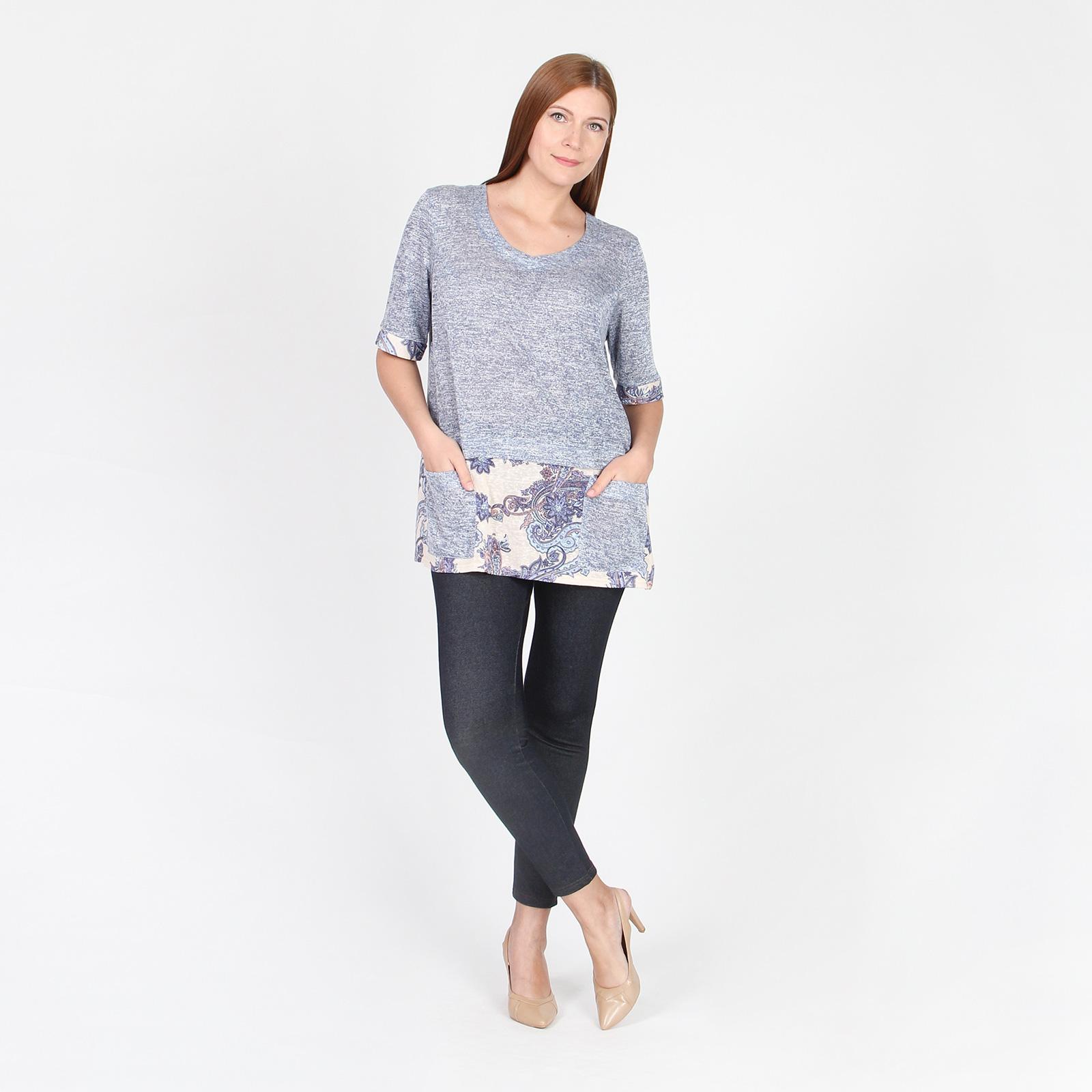 Блуза свободного кроя с манжетами и накладными карманами