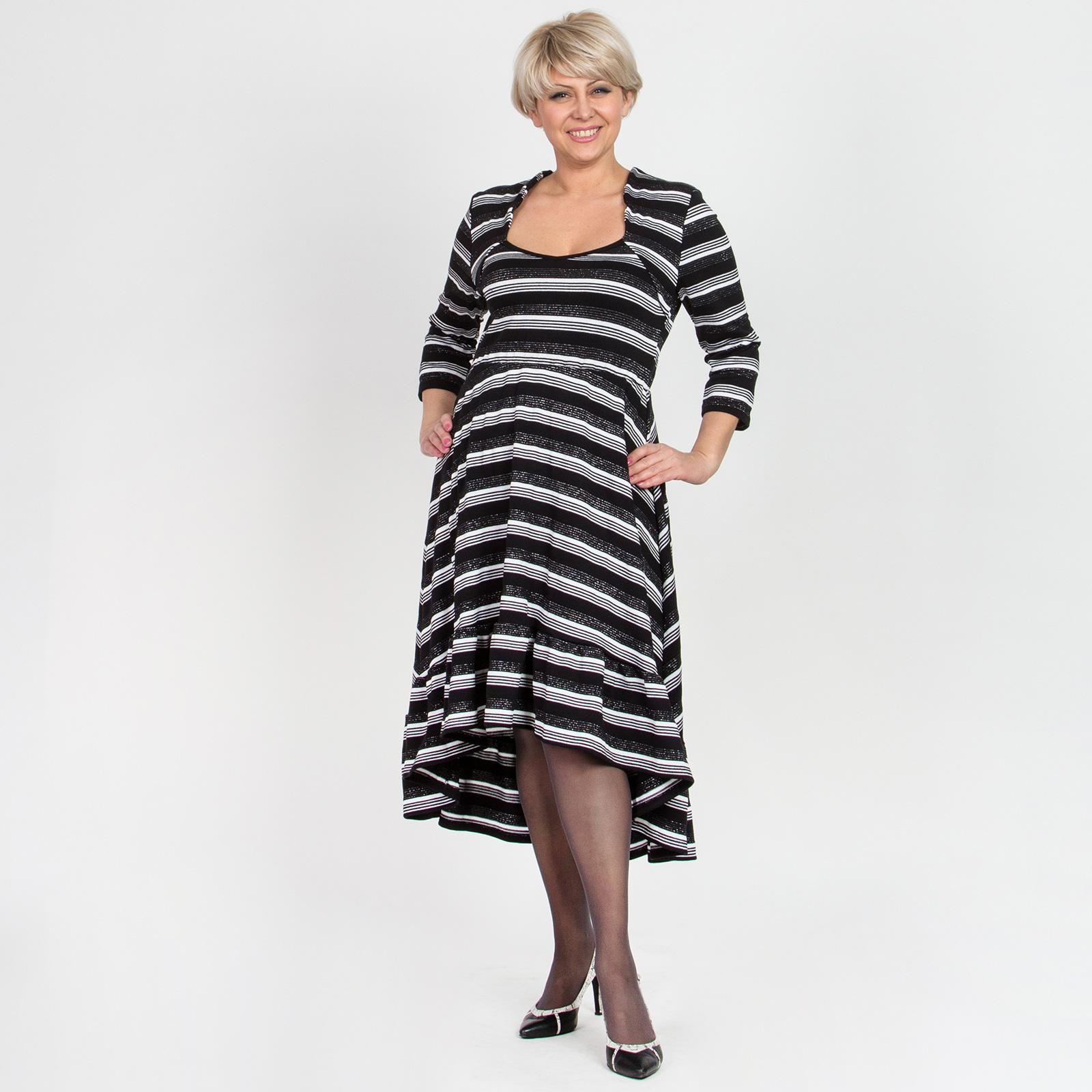 Платье с люрексом и асимметричным низом с воланами