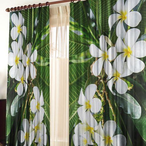 Комплект штор + тюль «Тропические цветы»
