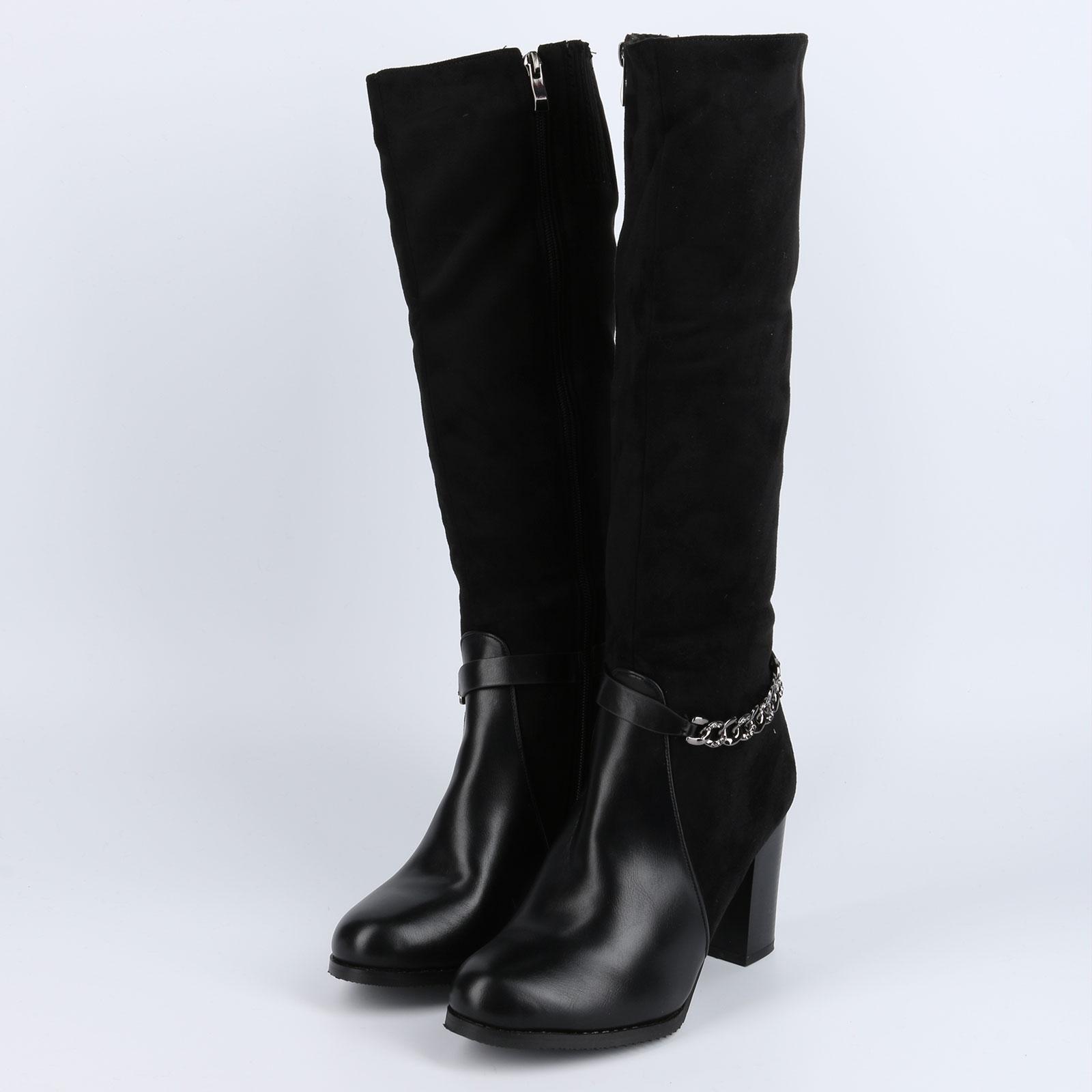 Сапоги женские на комбинированном каблуке