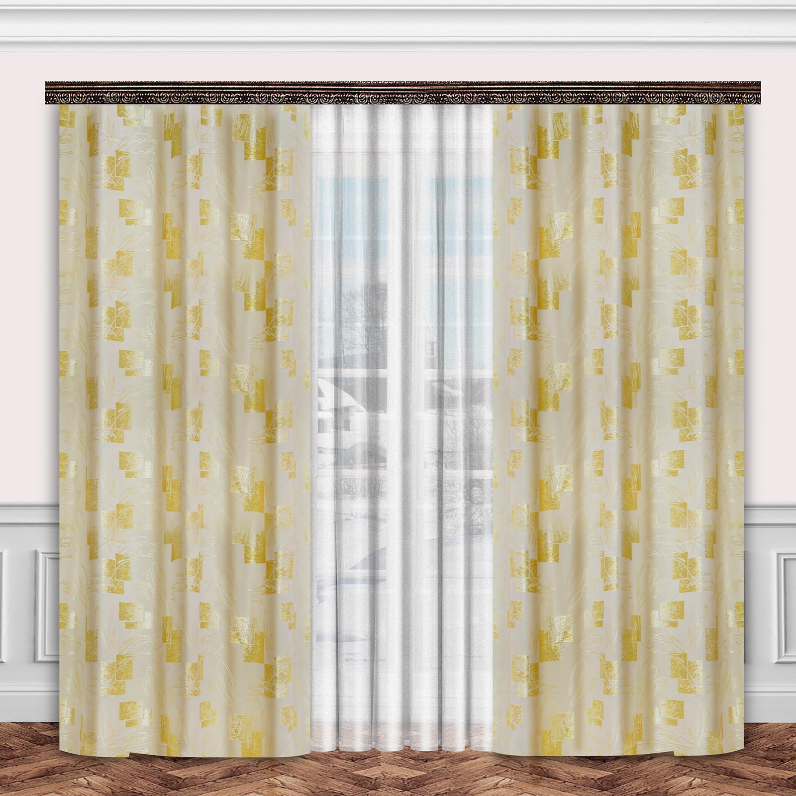 Комплект штор + тюль «Вышивка золотом»