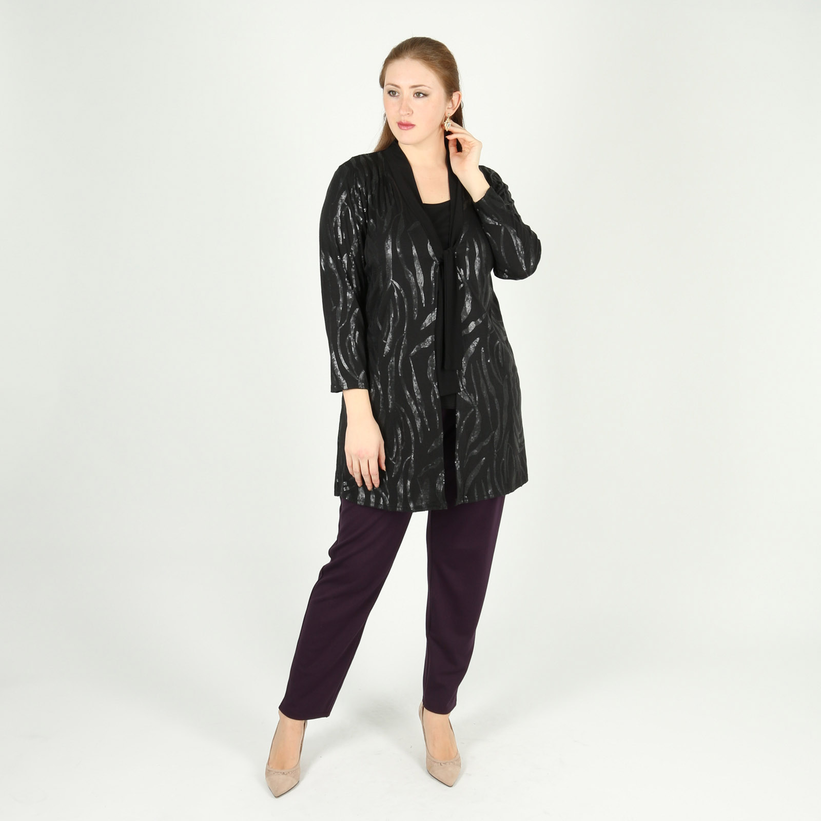 Комплект: блуза и кардиган с пайетками