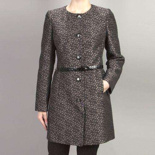 Жаккардовое пальто с обрезным воротником