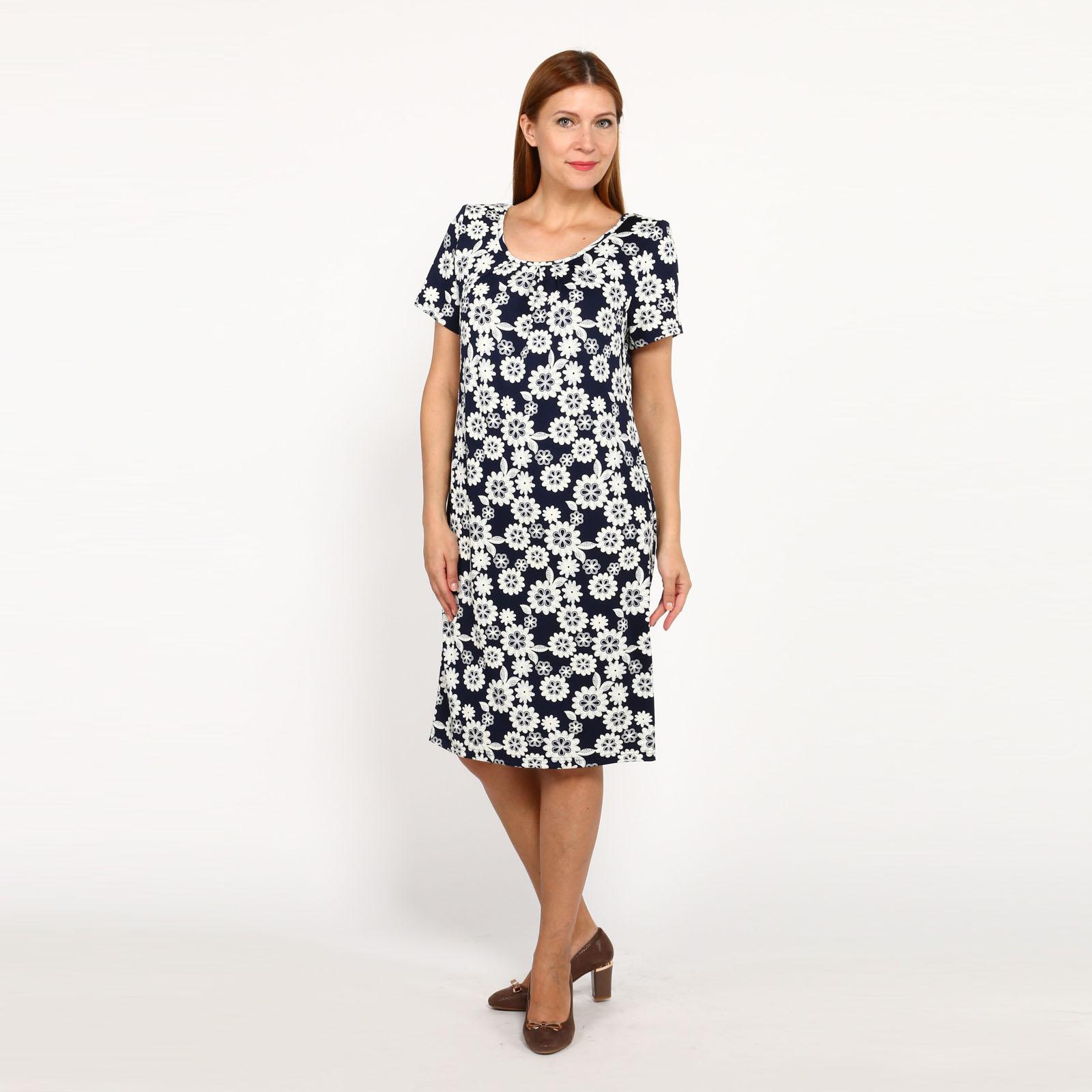 Платье с округлым вырезом и коротким рукавом