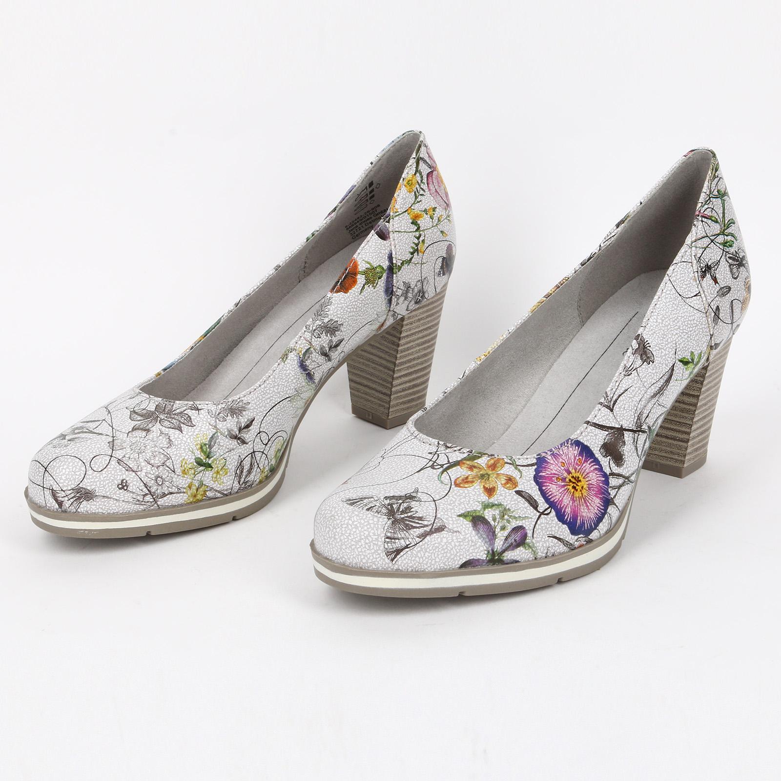 Туфли со вставкой на наборном каблуке