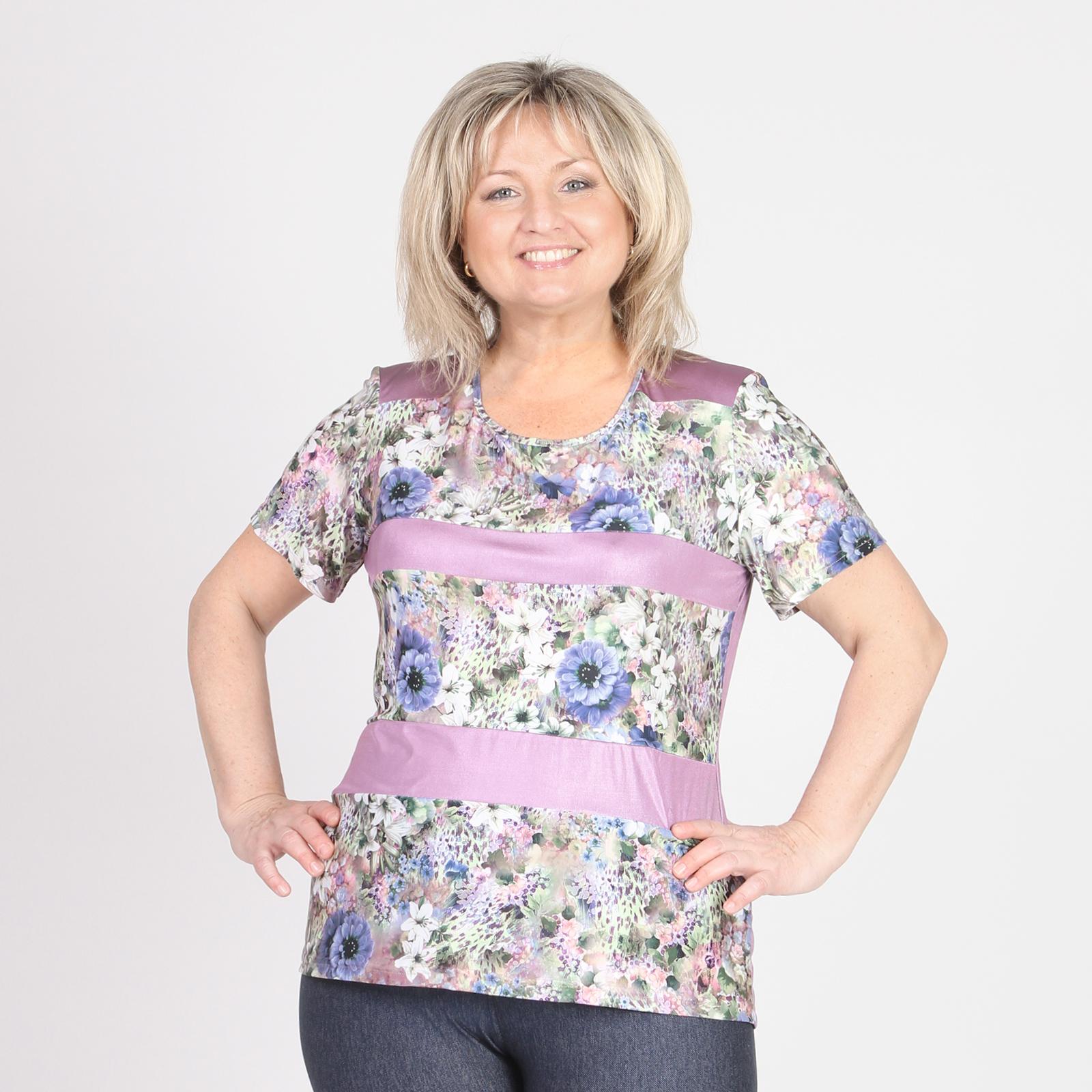 Блуза с округлым вырезом и цветочным принтом