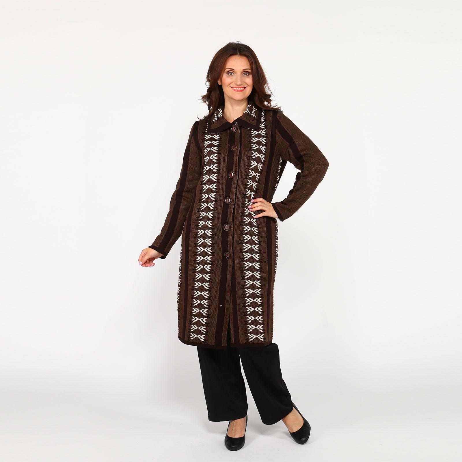 Пальто вязаное с отложным воротником