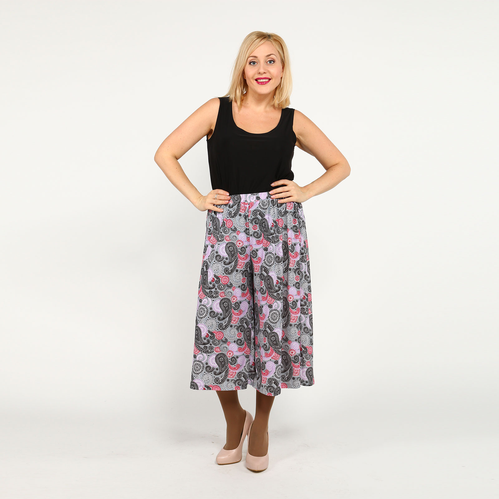 Шорты-юбка с принтом