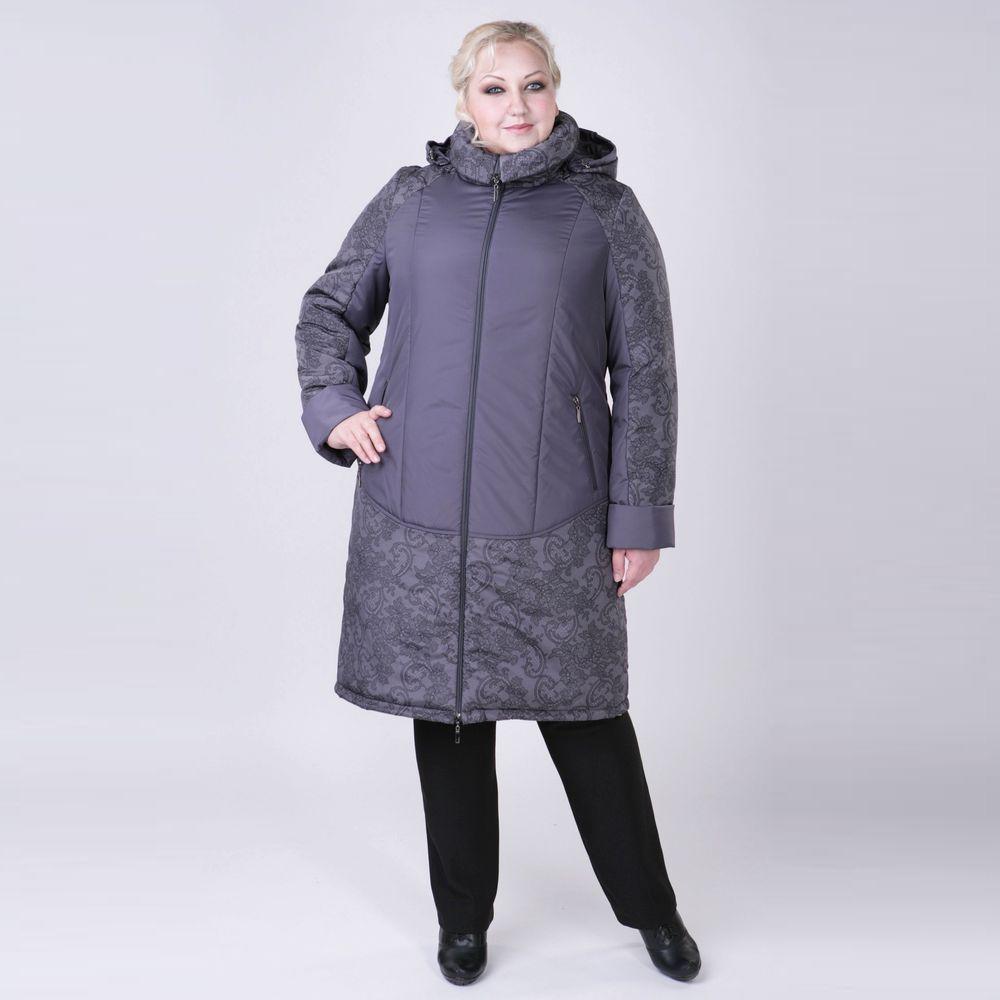 Пальто с капюшоном и вставками с принтом «кружево»