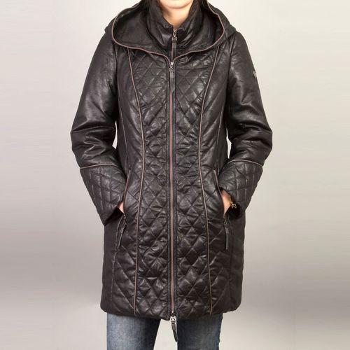 Стеганая куртка с воротником-стойкой и капюшоном