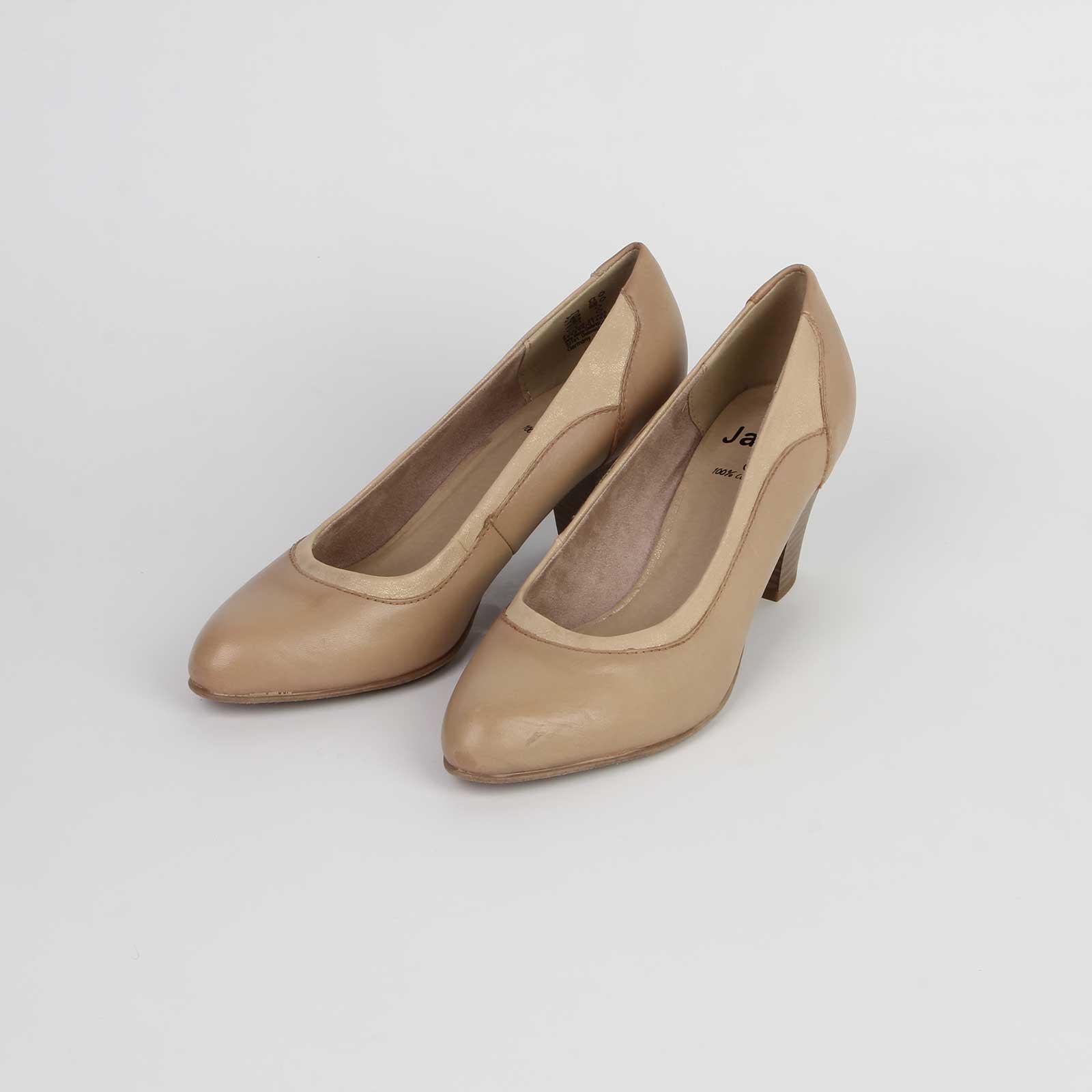 Туфли-лодочки из натуральной кожи на устойчивом каблуке