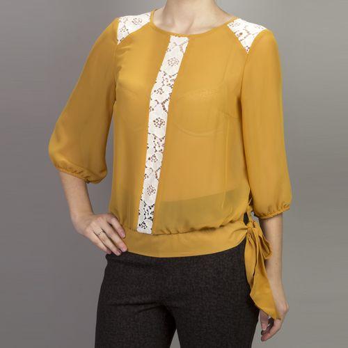 Шифоновая блуза с цветочным кружевом