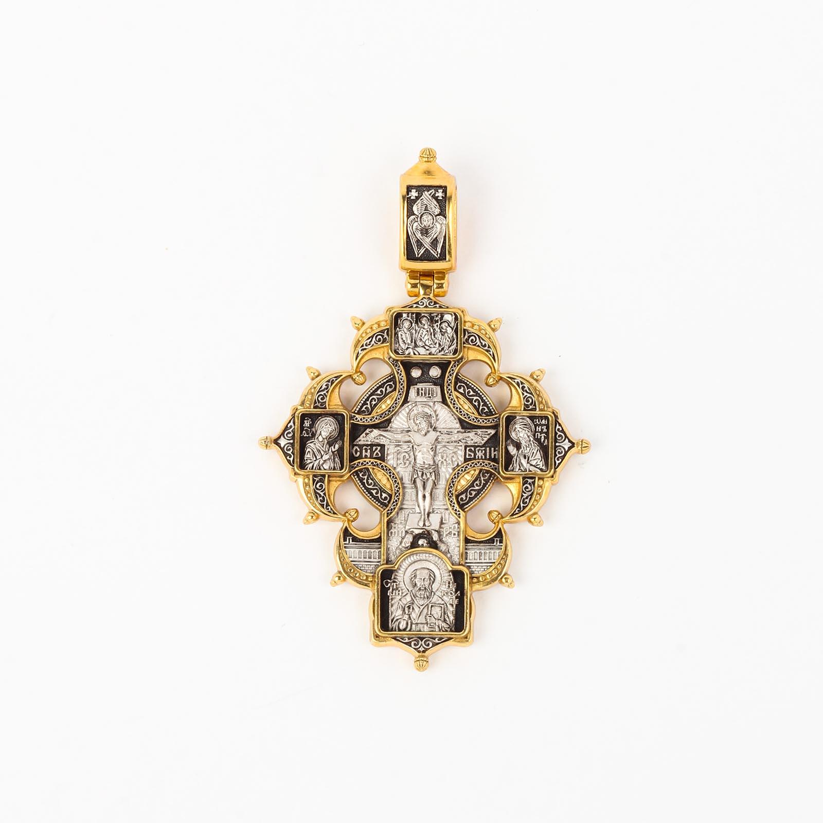 Крест «Распятие Христово с предстоящими. Ангел-Хранитель. Казанская икона Божией Матери. Святые покровители семьи»