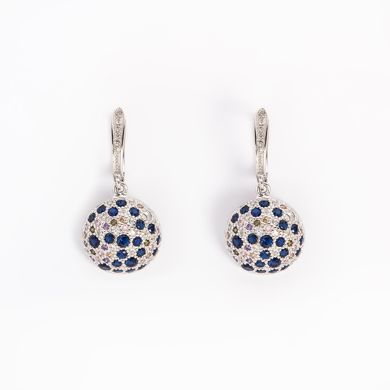 Серебряные серьги «Многоцветие циркона»