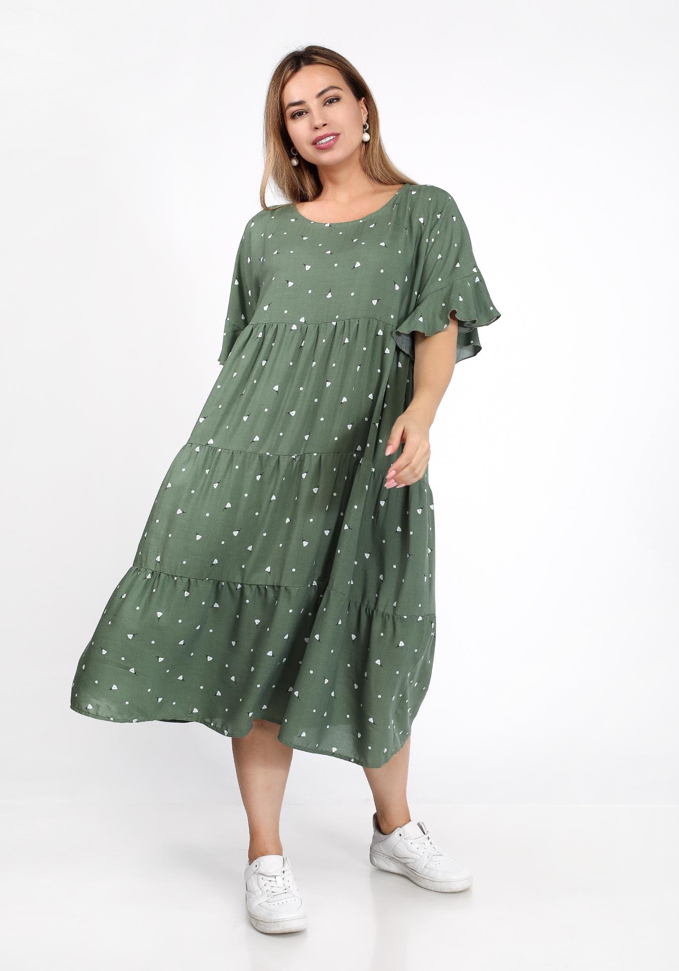Платье ярусное свободного силуэта