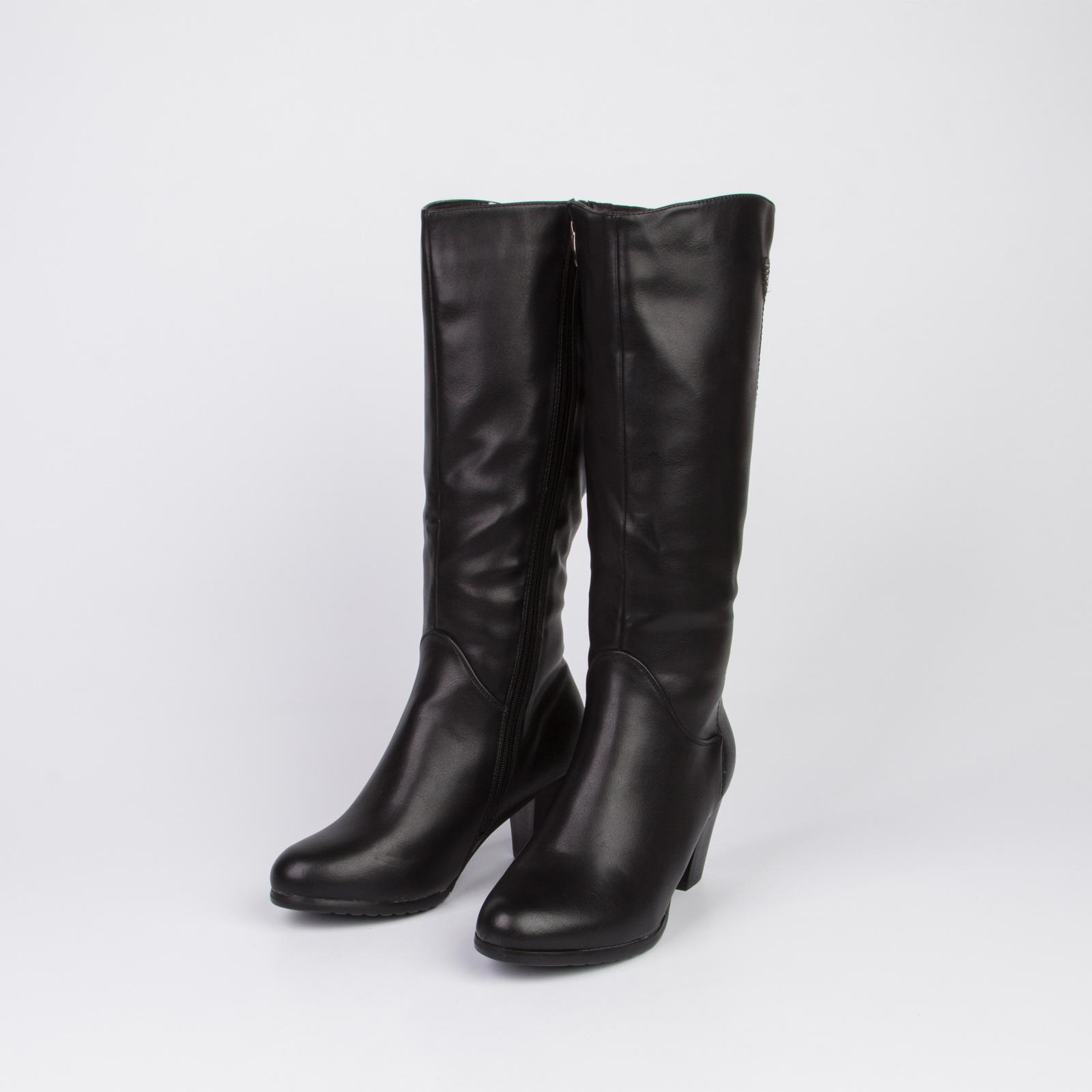 Сапоги женские классические на удобном каблуке и молнии