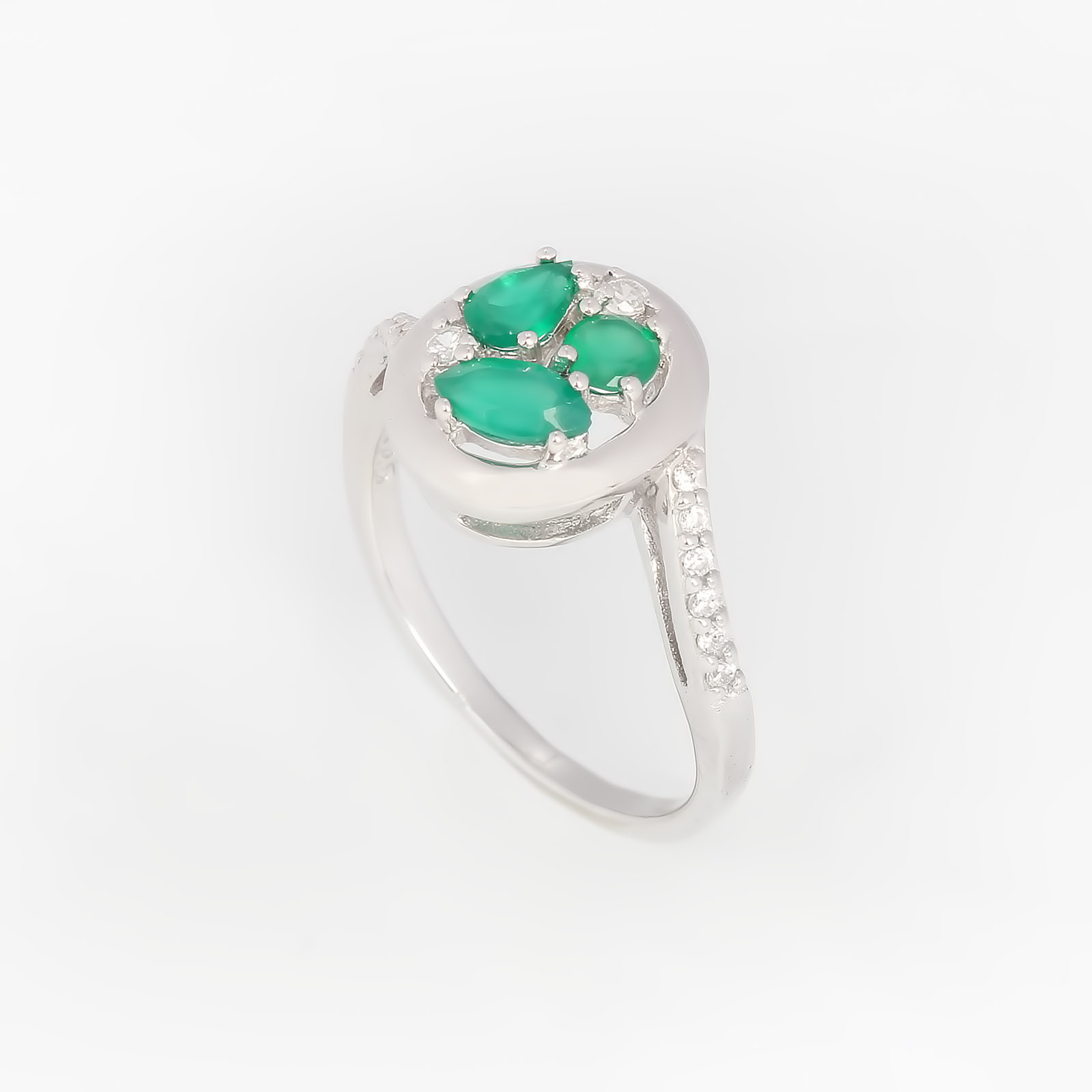 Серебряное кольцо «Зеленые агаты»