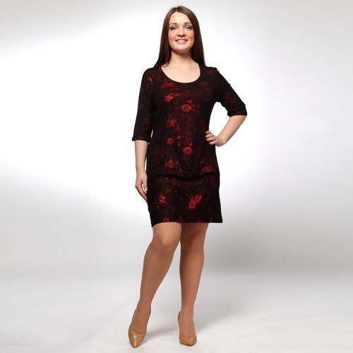 Платье прямого кроя с изысканным цветочным принтом