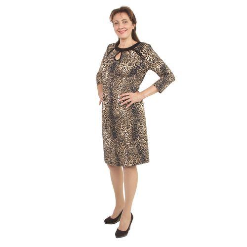 Платье с фигурными вырезами и принтом «леопард»