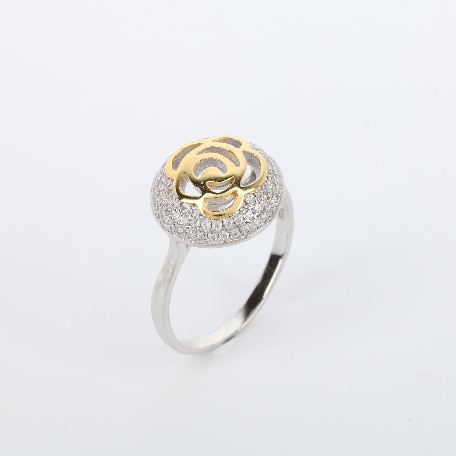 """Серебряное кольцо """"Золотая роза в серебре"""""""