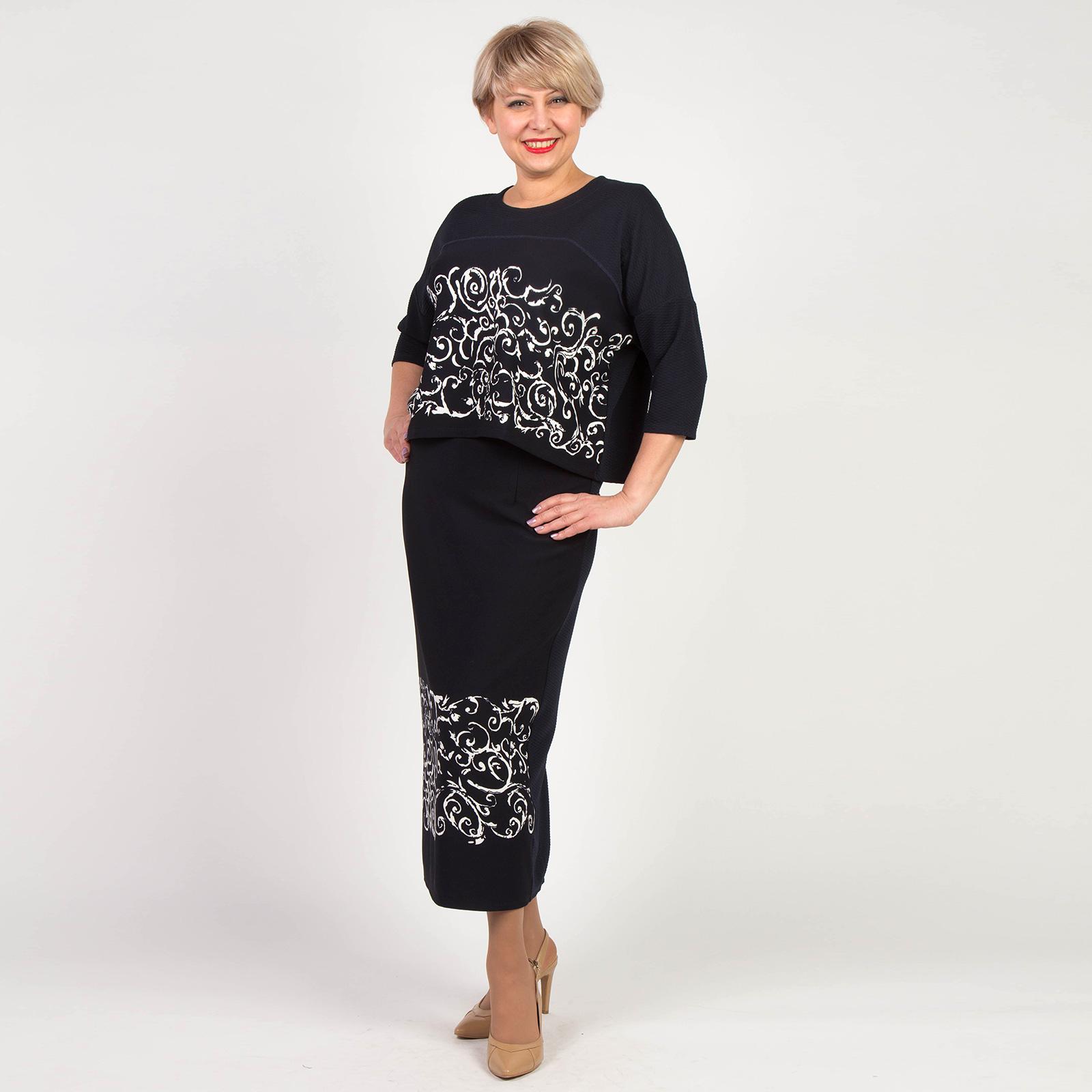 Костюм: юбка-макси и блуза с узорным принтом