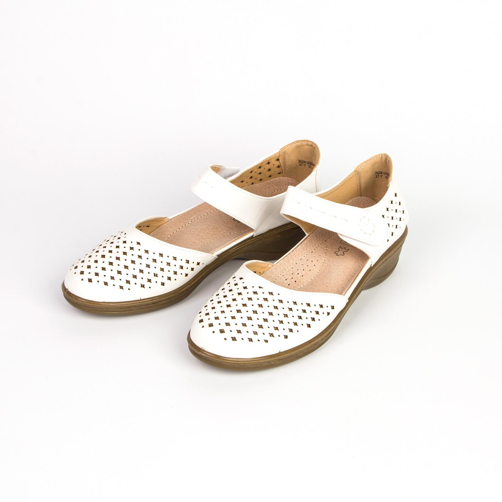 Туфли женские на удобном ремешке декорированные сквозной перфорацией