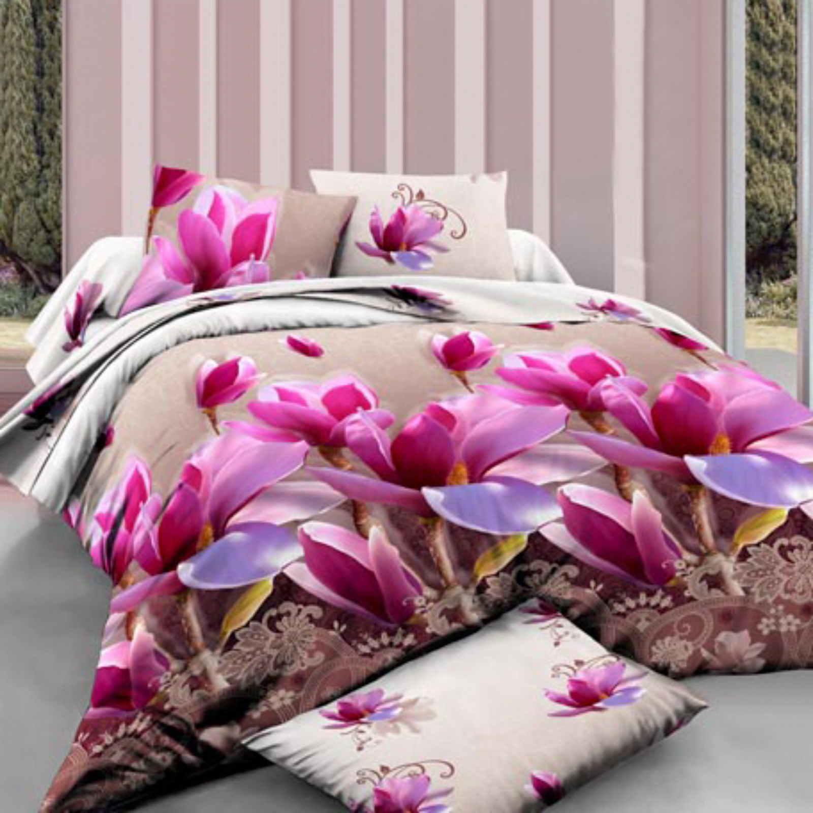 Комплект постельного белья «Розовые магнолии»
