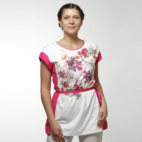 Женская туника с цветочным принтом и контрастной отделкой