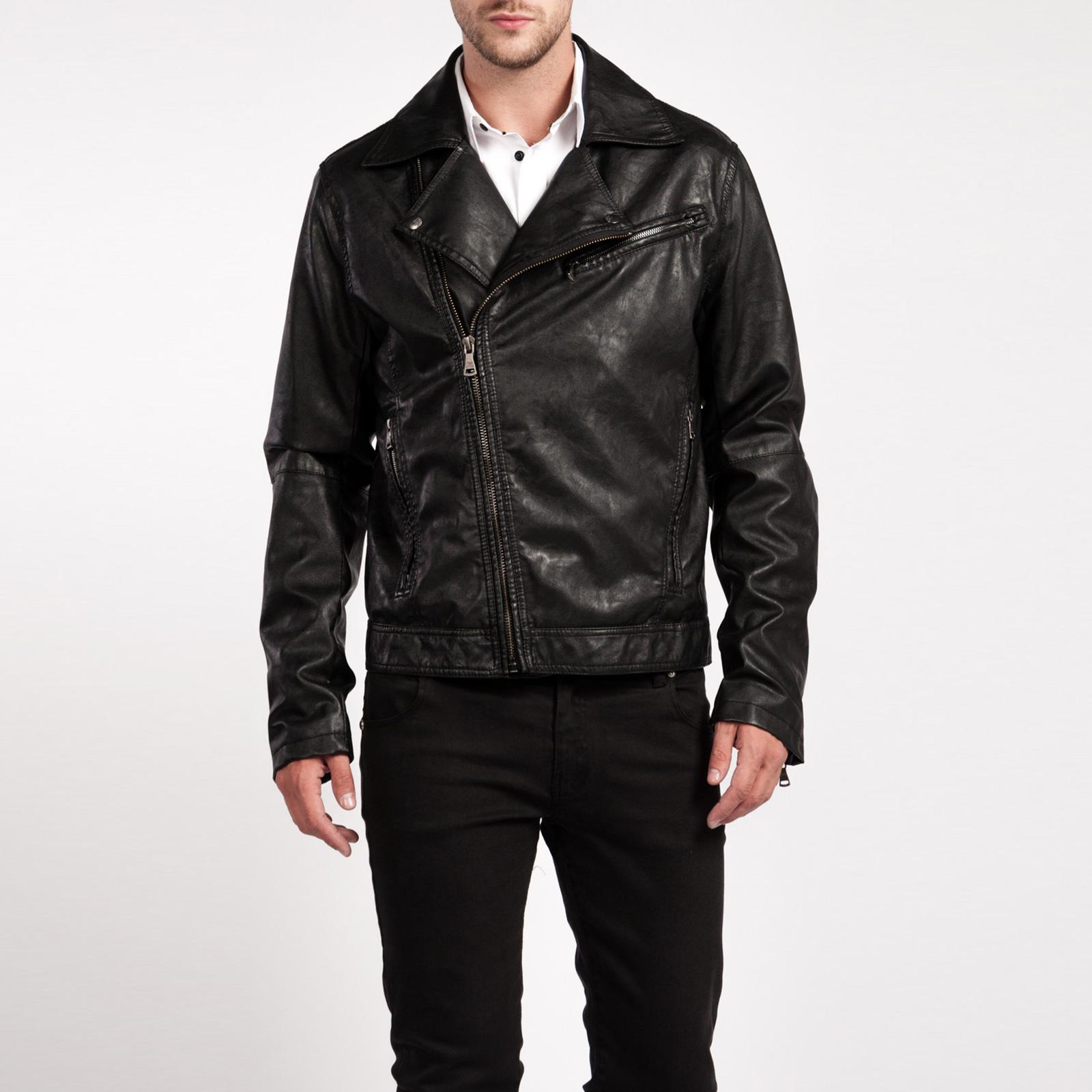 Куртка мужская из экокожи с отложным воротником