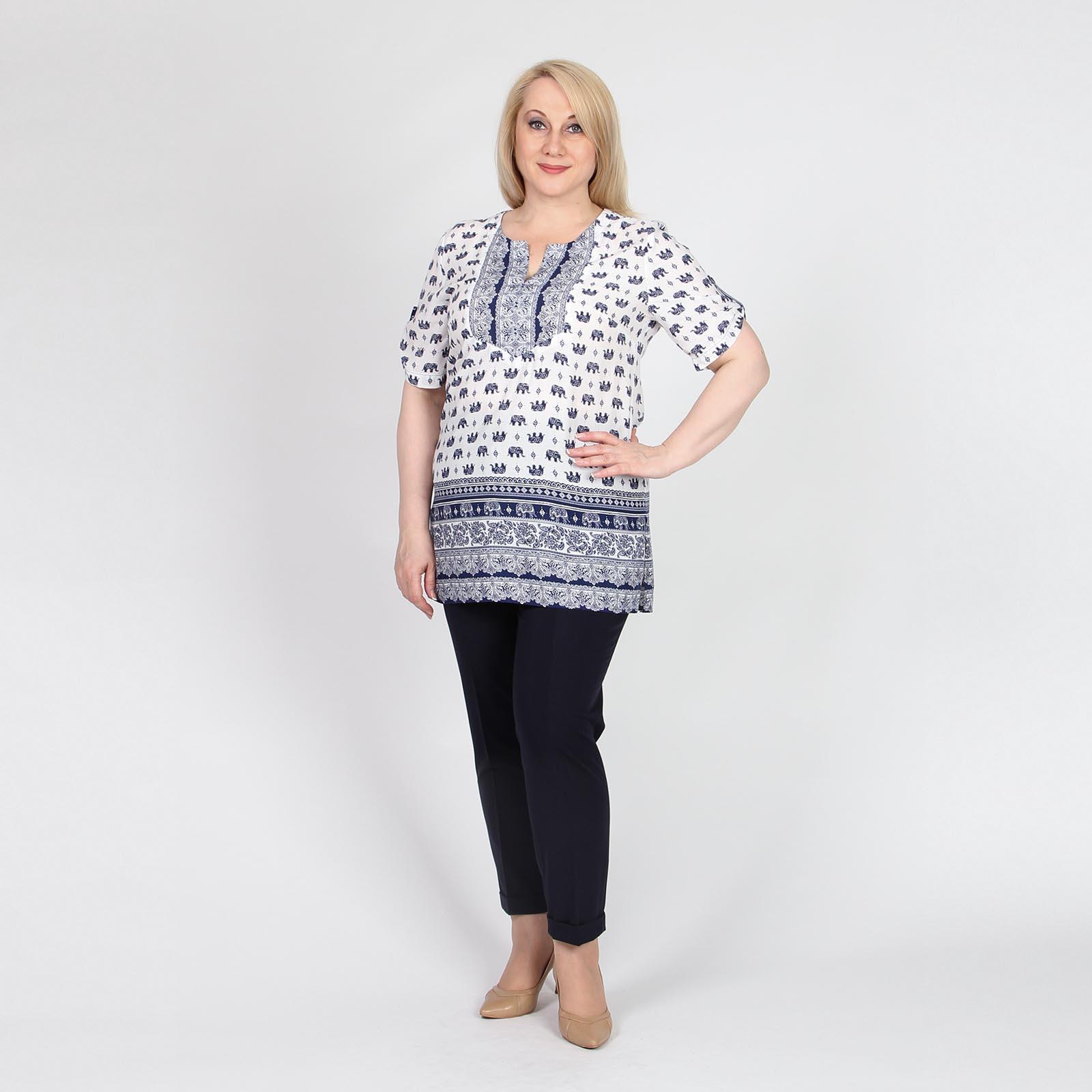Блуза с комбинированным контрастным принтом