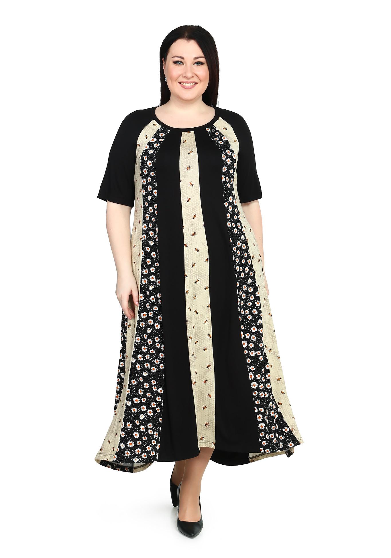 Платье-макси с комбинированным принтом
