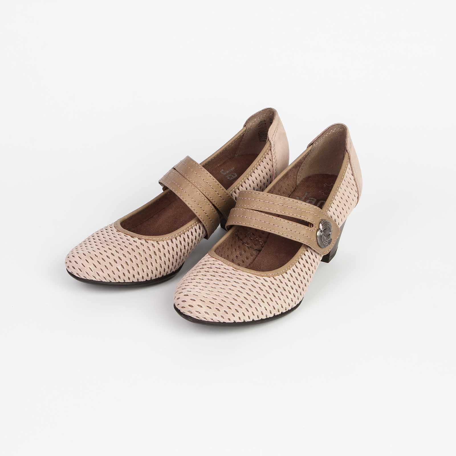 Туфли женские из натуральной кожи декорированные мелкой перфорацией с ремешком