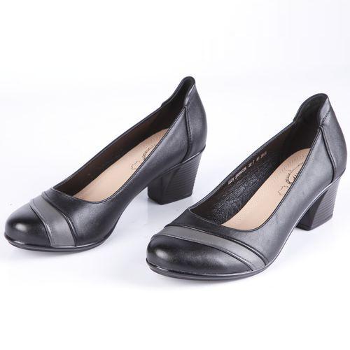 Туфли женские на устойчивом каблуке с контрастной вставкой на мысу