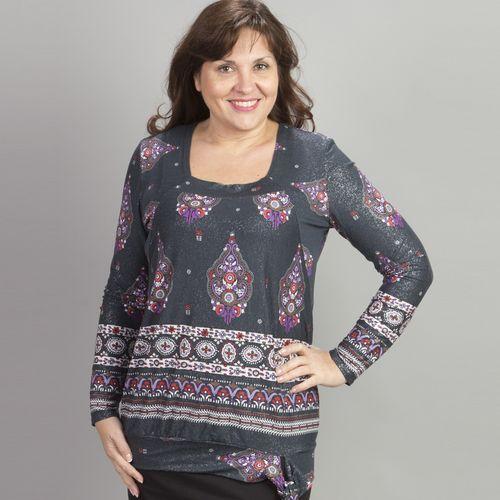 Блестящая блуза с яркими узорами и завязками