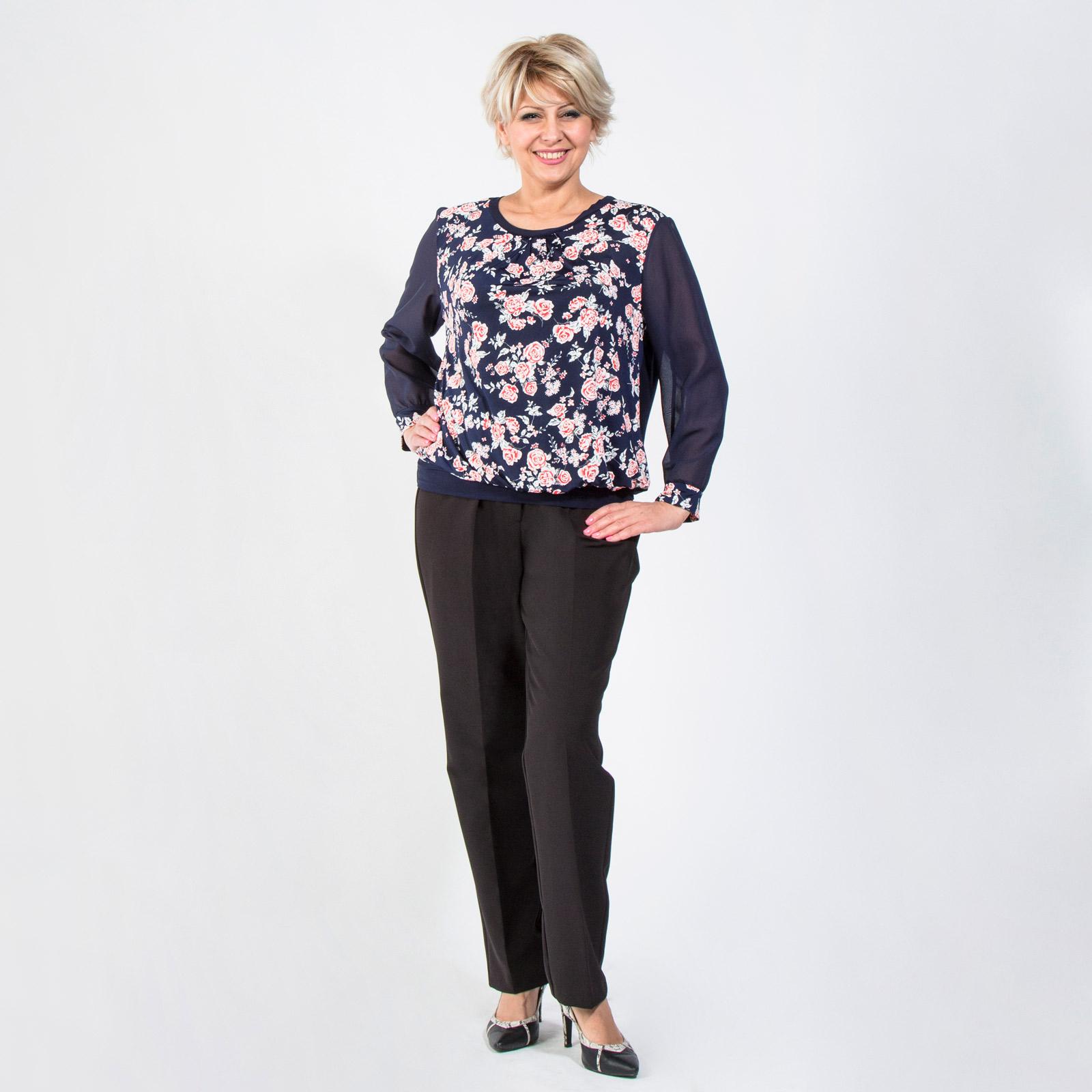 Блуза с шифоновыми рукавами и принтом «Розы»